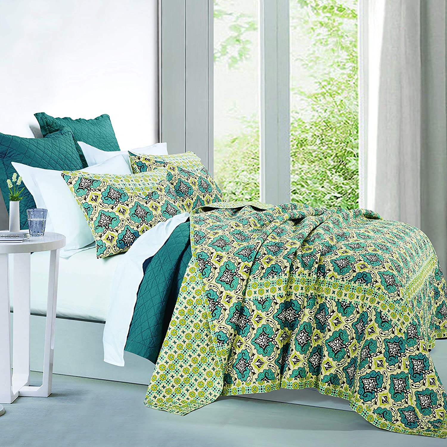 HiEnd Accents New product! New type Recommended 3 PC Salado Quilt Queen Set Full