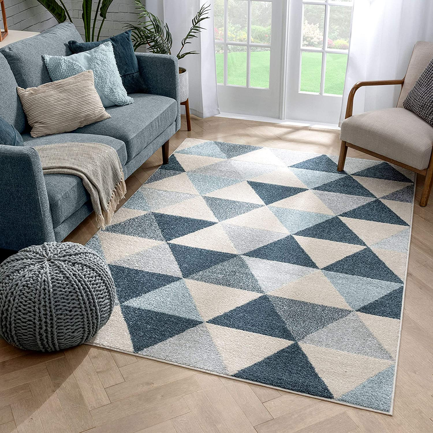 Well Woven Isometric Geometric Dark Blue Triangle Max 74% OFF Area Rug 3x5 Limited Special Price