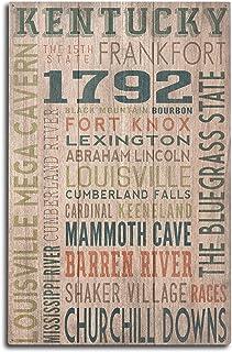 Lantern Press Kentucky – Rustic Typography (10×15 Wood Wall Sign, Wall Decor..