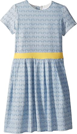 Soft Cotton Blue and Gold Party Dress (Toddler/Little Kids/Big Kids)