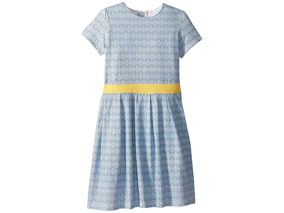 Toobydoo Soft Cotton Blue and Gold Party Dress (Toddler/Little Kids/Big Kids) (Blue) Girl