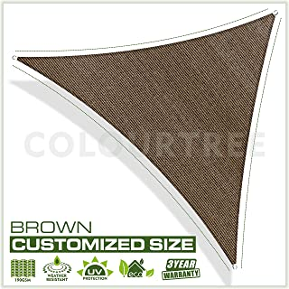 ColourTree Customized Size Order to Make Sun Shade Sail Canopy Mesh Fabric UV Block Triangle - Commercial Standard Heavy Duty - 190 GSM - 3 Years Warranty 6' x 6' x 6' Brown
