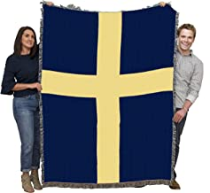 Pure Country Weavers | Flag of Sweden Swedish Tapestry Throw Blanket Cotton USA 72x54 Cotton