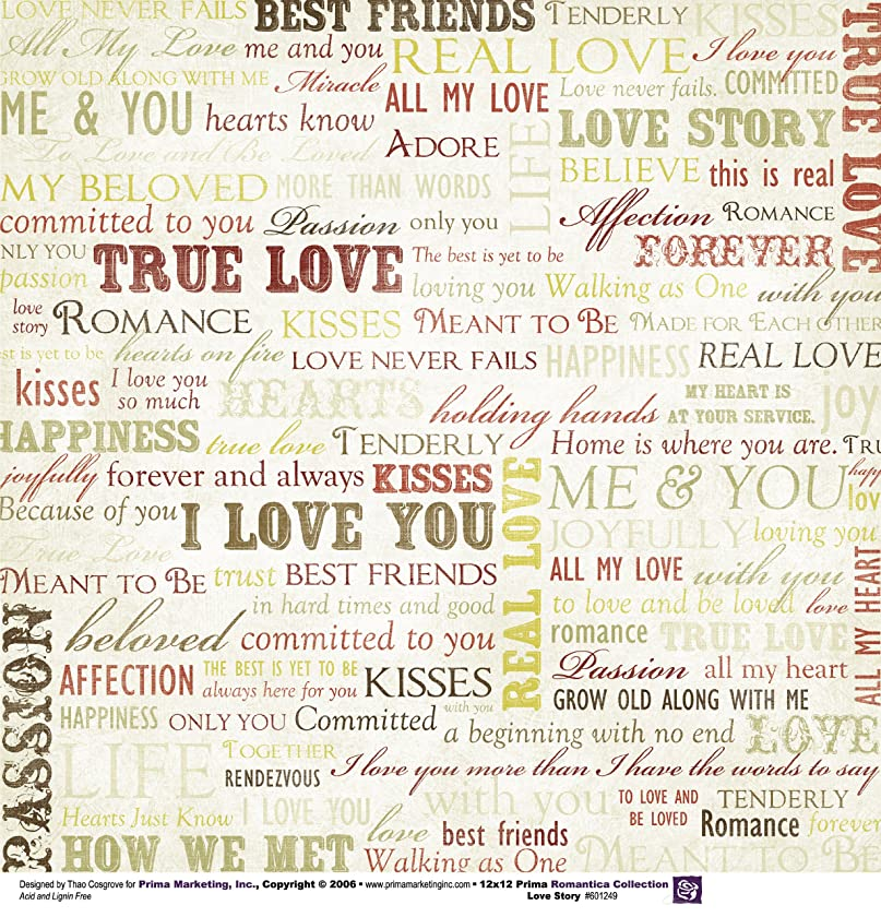 Prima 601249 12 by 12-Inch Romantica Double Sided Patterned Cardstock Paper, Love Story, 25-Pack