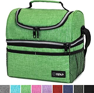Insulated Dual Compartment Lunch Bag for Men, Women | Double Deck Reusable Lunch Box..