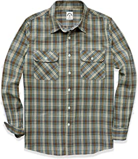 Dubinik Men's Plaid Long Sleeve Shirts Button-Down Casual Cotton Flannel Shirts Regular Fit with Two Pockets
