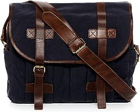 SID & VAIN Messenger Bag Canvas & Leder Chase groß Laptoptasche Umhängetasche Laptopfach 15.6 Ledertasche Unisex