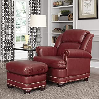 Best red leather club chair and ottoman Reviews