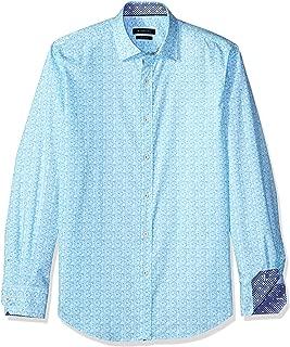 Bugatchi Men's Shaped Fit Turquoise Printed Horizontal Long Sleeve Shirt