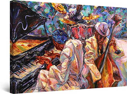 StartonightImpressionsurToile Peinture Orange de Musique Jazz - Tableau Abstrait - Decoration Murale Salon Moderne...