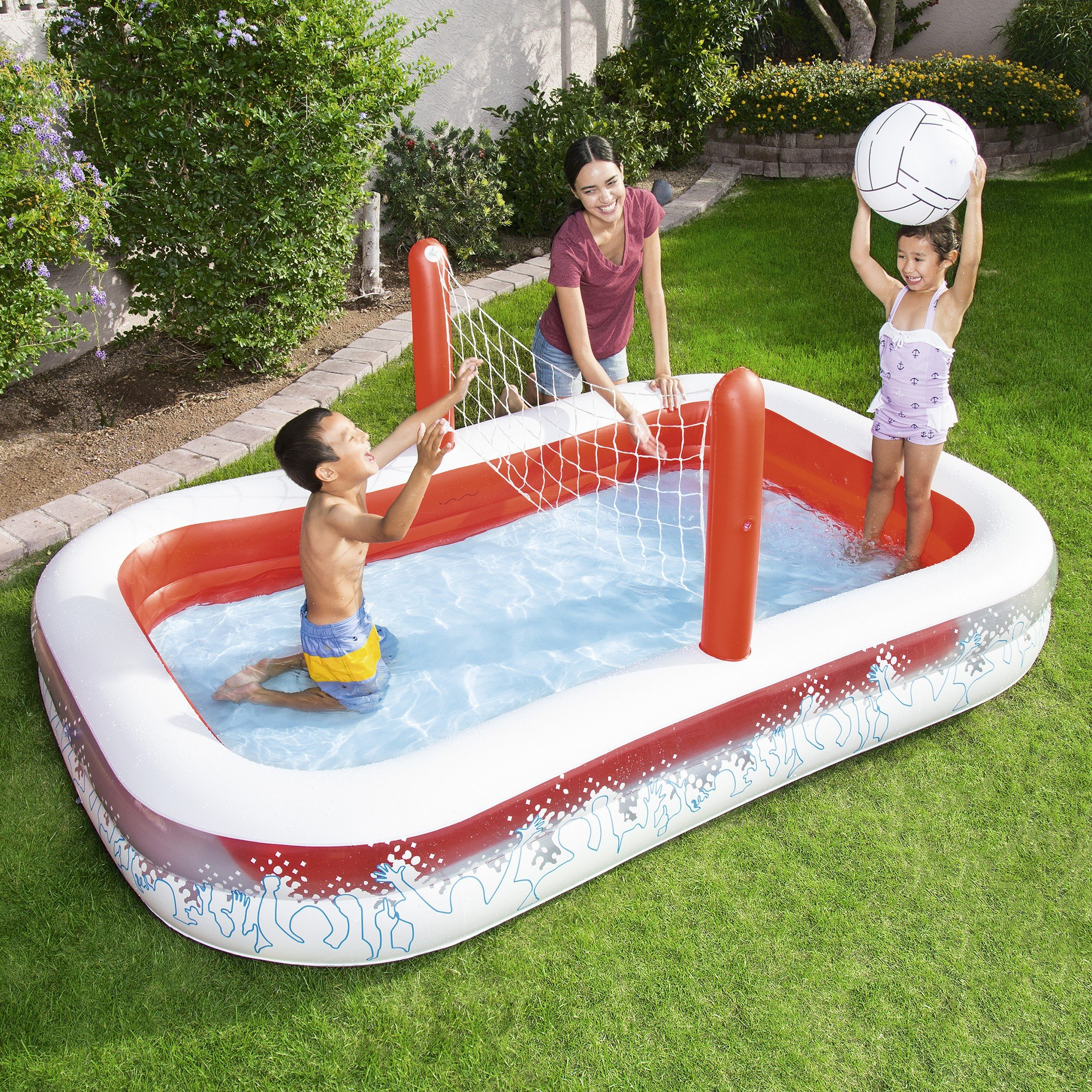 Piscina Hinchable Infantil con Red Voleibol Bestway Inflate-A-Volley 254x168x97 cm: Amazon.es: Jardín