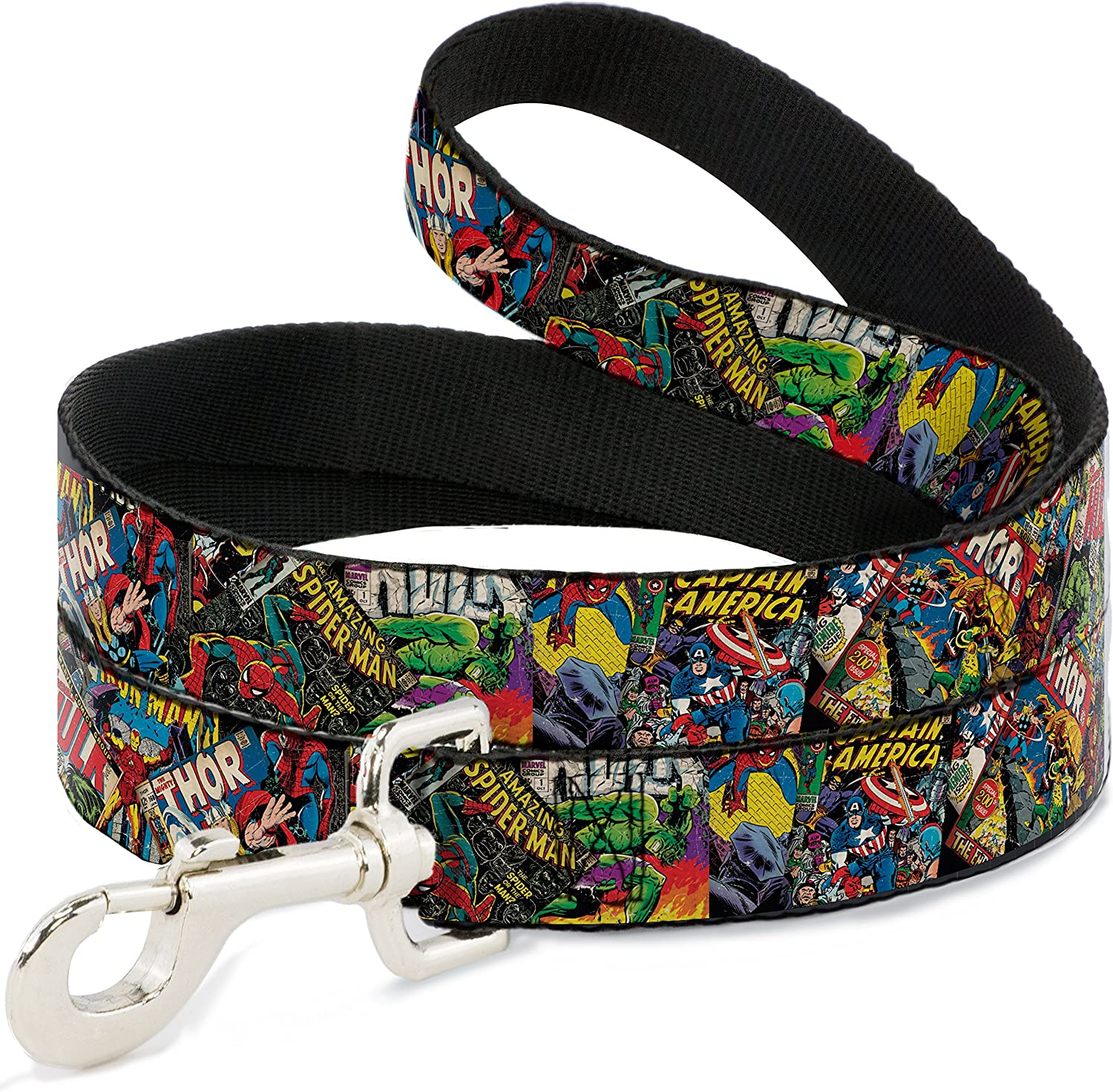 BuckleDown DL6FTWAV035 Dog Leash, Retro Marvel Comic Books Stacked C U, 6'