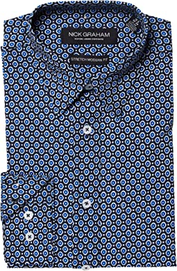 Nick Graham - Gem Print Stretch Shirt