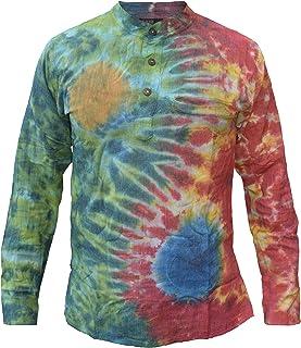 adf529f943d Little Kathmandu - Camisa de estilo hippie, algodón, teñida, estilo casual