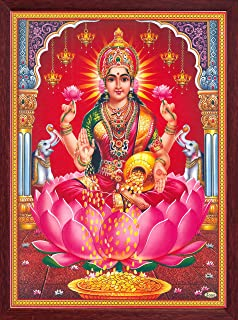 Handicraft Store Lakshmi, Power of Money and Prosperity Poster Painting in Wood Craft Frame, Must for Ever Home/Office/and Gift Purpose