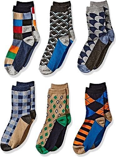 Jefferies Socks Boys' Little Fun Colorful Dress Crew Socks 6 Pair Pack