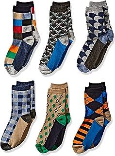 Boys' Little Fun Colorful Dress Crew Socks 6 Pair Pack