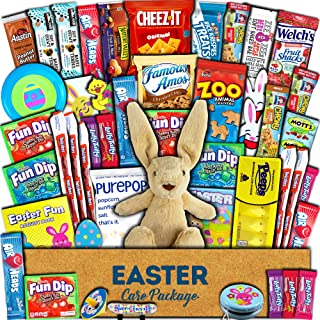 Easter Care Package (45ct) - Chocolate, Candy, Snacks, Toys, Plush Bunny - Git Box Bundle Basket Fillers Stuffers Present - Kids, Adults, Boys, Girls, College Student, Child, Grandchildren, Toddlers