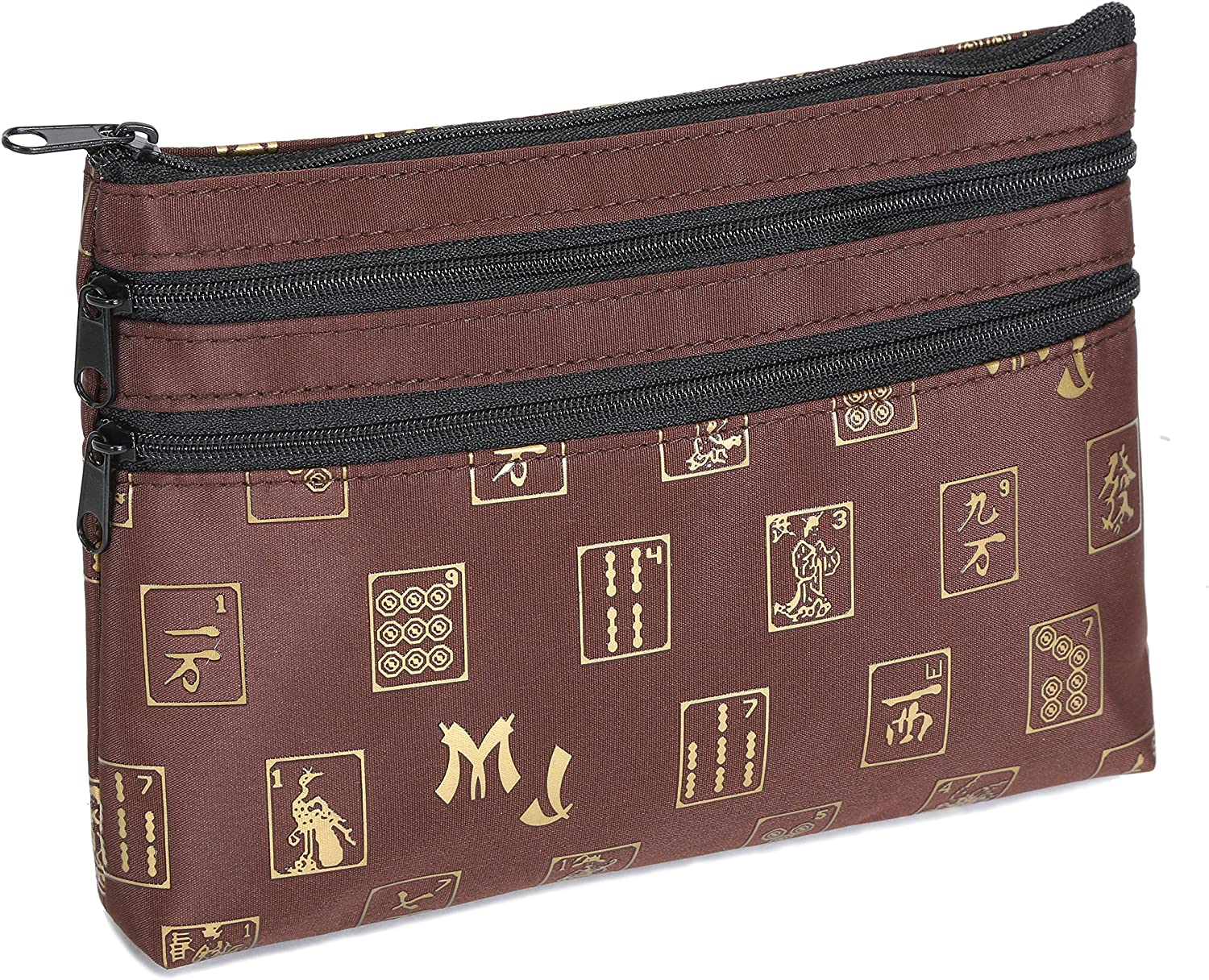 Mah Jongg Brown and gold 3 Zipper Mah Jong Purse for Mahjong Card