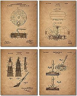 Curling Patent Prints - Set of 4 Vintage Decor Wall Art Photos - Bonspiel Stone Broom Brush