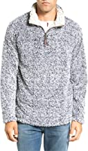 PAAZA Mens 1/4 Zip Fleece Pullover Frosty Pile Tipped Sweater Stadium Fleece Sherpa Pullover Hoodie