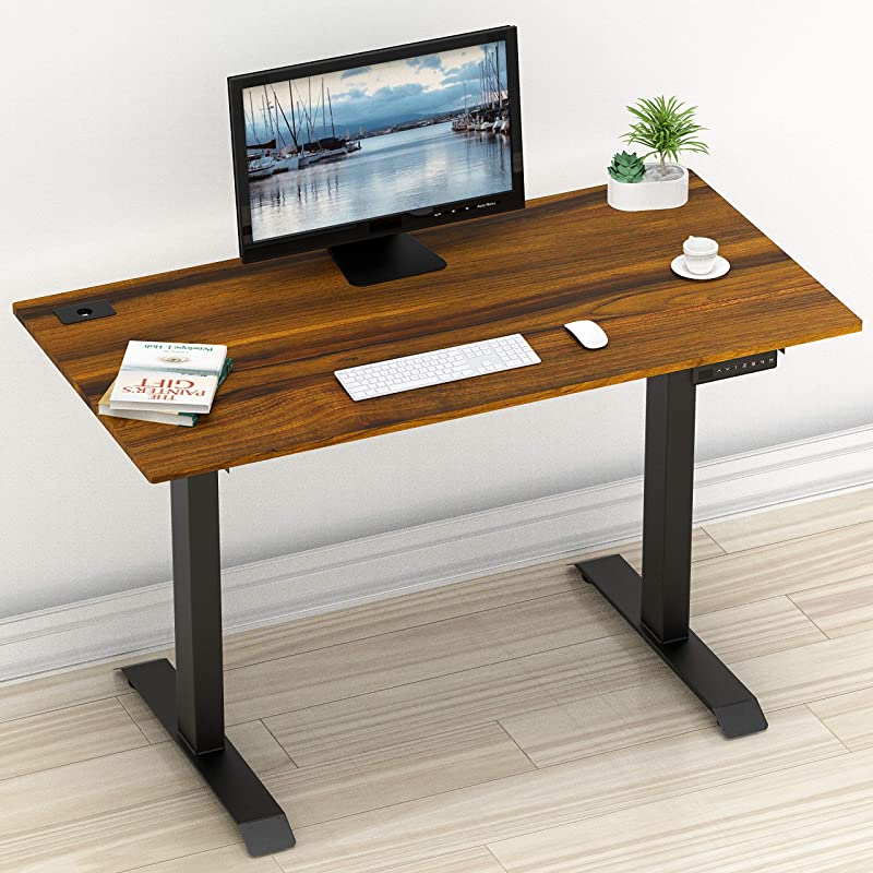SHW Electric Height Adjustable Computer Desk 48 X 24 Inches Walnut