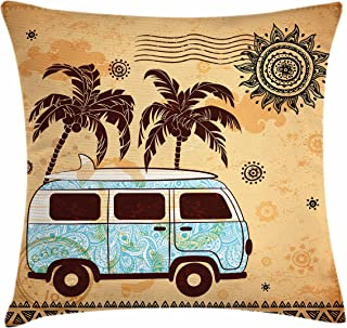 Lunarable Vintage Hawaii Throw Pillow Cushion Cover, Retro Trees Old Van with Abstract Sun Design Beach Surfing Board, Decorative Square Accent Pillow Case, 28