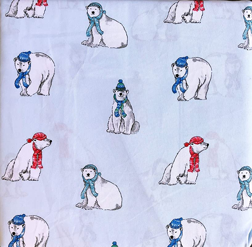 Cynthia Rowley 3 Piece Twin Size Bed Sheet Set Extra Deep Pockets Polar Bears in Red and Blue Scarves and Hats on Light Blue