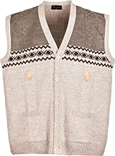 Mens Knitted Waistcoat Plus Sizes 3XL to 6XL Knitted Sleeveless Cardigan
