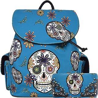 Sugar Skull Day of the Dead Daypack Concealed Carry Backpack Fashion Women Travel Biker Purse Wallet Set