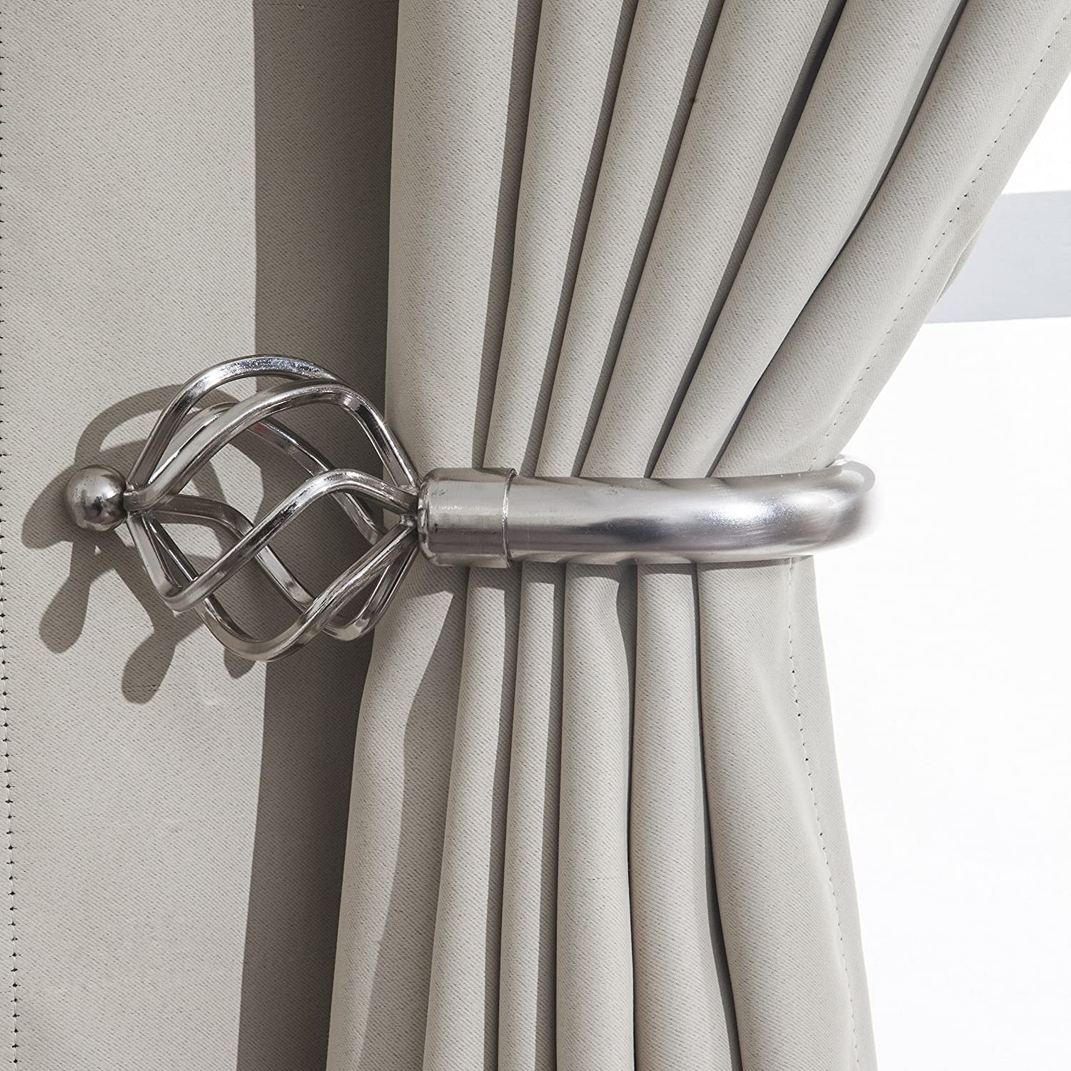 Home Harmony/® Bird Cage Finial Telescopic Extendable Curtain Pole set In Black Silver White and Matching Holdbacks Available Black, Pair Of Holdbacks