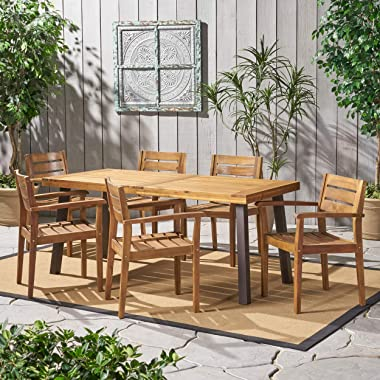 Christopher Knight Home Avon Outdoor Acacia Wood Dining Set, 7-Pcs Set, Teak Finish With Rustic Metal Accents