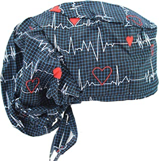 Big Hair Bouffant Navy Blue Nurse Doctor Heart Beat EKG Scrub Cap Hat