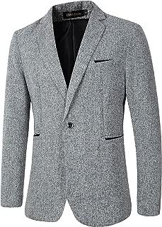 Mens Casual 1 Button Blazer Slim Fit Sport Coat Jacket