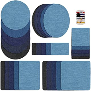 Iron on Patches Denim Fabric Patch Transfer for Clothing Jeans, DIY Sewing Repair Kit 30PCS Decorative Cotton Sticker for Holes in Pants 5 Colors, 6 Sizes