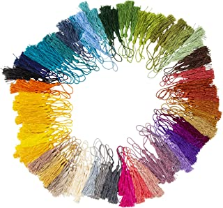 Bookmark Tassels - 150-Pack Silky Floss Tassel Pendant with 2.3-inch Cord Loop for Handmade Craft Accessory, DIY Jewelry Making, Home Decoration, Souvenir, Assorted Color, 0.1 x 5.4 x 0.1 inches