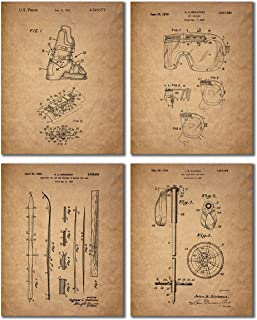 Ski Patent Prints - Set of 4 (8 inches x 10 inches) Vintage Wall Art Decor Photos