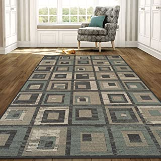 Superior Colburn Collection 2' x 3' Area Rug, Indoor/Outdoor Rug with Jute Backing, Durable and Beautiful Woven Structure, Grey, Beige, and Teal