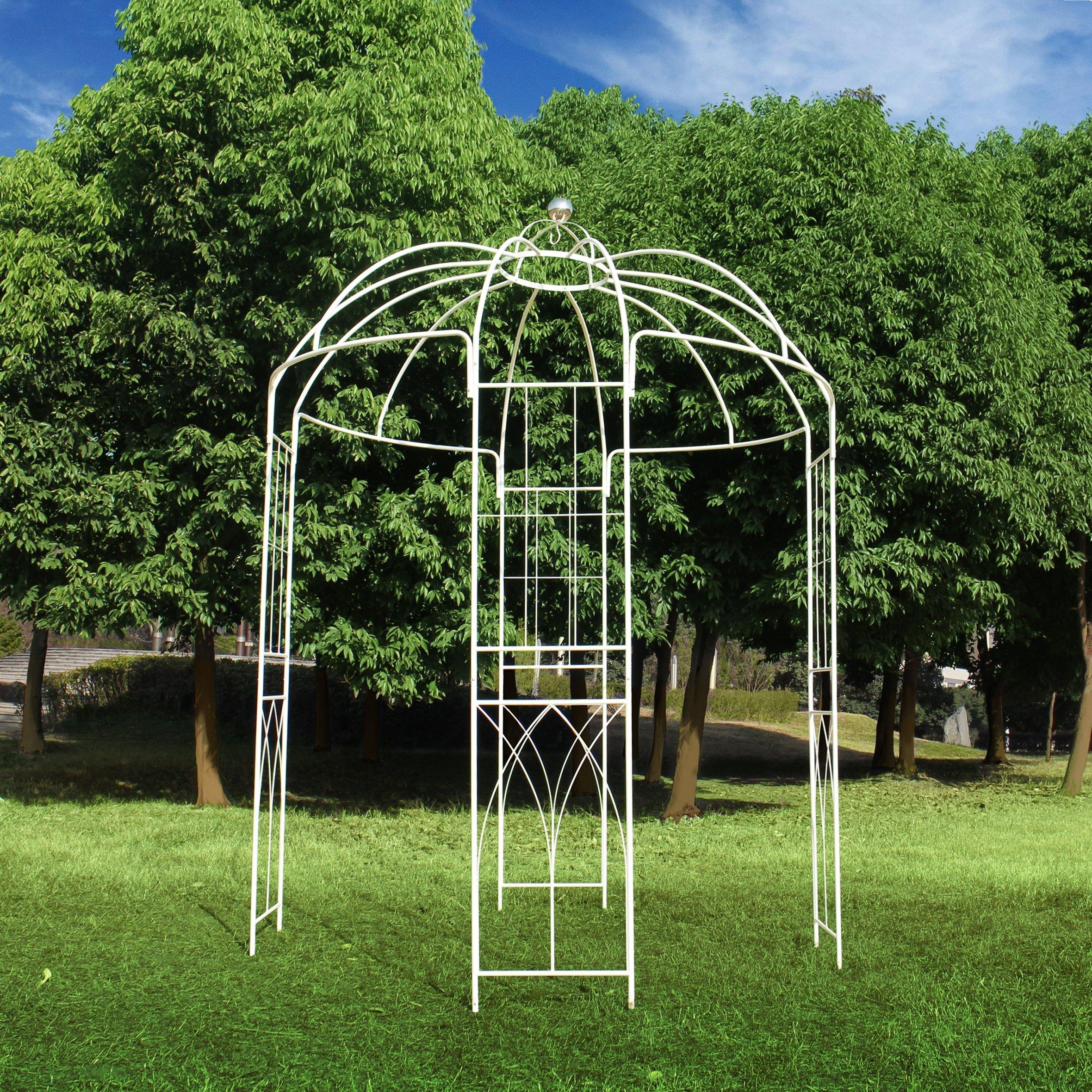 Pergola de metal con forma de jaula de pájaros de 4 lados estilo francés, de Outour, para jardín, patio, boda, vid trepadora, rosas, flores, color blanco: Amazon.es: Jardín
