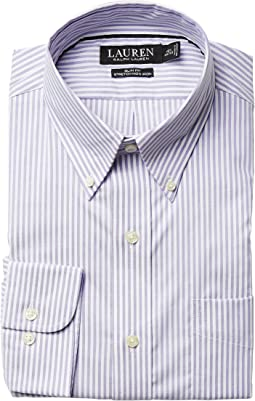 Slim Fit Non Iron Pinpoint Stretch Stripe Button Down Collar Dress Shirt