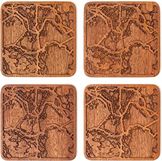 Hong Kong Map Coaster by O3 Design Studio, Set Of 4, Sapele Wooden Coaster With City Map, Handmade
