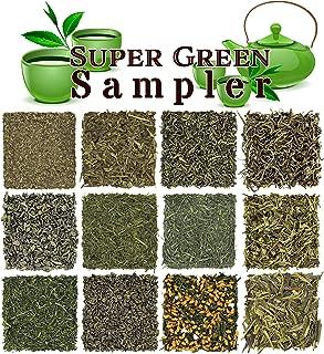 Loose Leaf Green Tea Sampler - Gunpowder Green Tea, Dragonwell, Genmaicha, Sencha, Young Hyson & More. 12 Exotic Teas from Japan & China, Approx. 180+ Cups