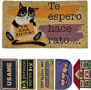 LucaHome - Felpudo de Coco Natural 70x40 con Base Antideslizante, Felpudo de Coco Divertido Te espero Hace rato,Felpudo Ab...