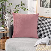 Home Brilliant Faux Fur Solid Square Throw Pillow Cover for Bed Cushion Case for Sofa Bedroom Car, 18 x 18 inch, 45x45cm, ...