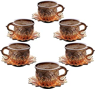 Luxury Porcelain Turkish Coffee Cups Set of 6 and Saucers 4 oz. Gold Espresso Serving Cups Set, Greek Coffee, Demitasse Co...