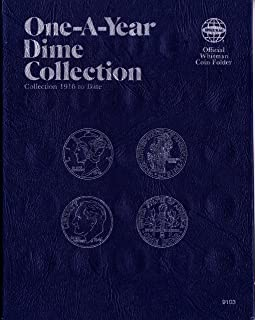 1916-DATE 1979 DIME COLLECTION No 9103 WHITMAN ONE-A-YEAR COIN; ALBUM, BINDER, BOARD, BOOK, CARD, COLLECTION, FOLDER, HOLDER, PAGE, PORTFOLIO, PUBLICATION, set, volume
