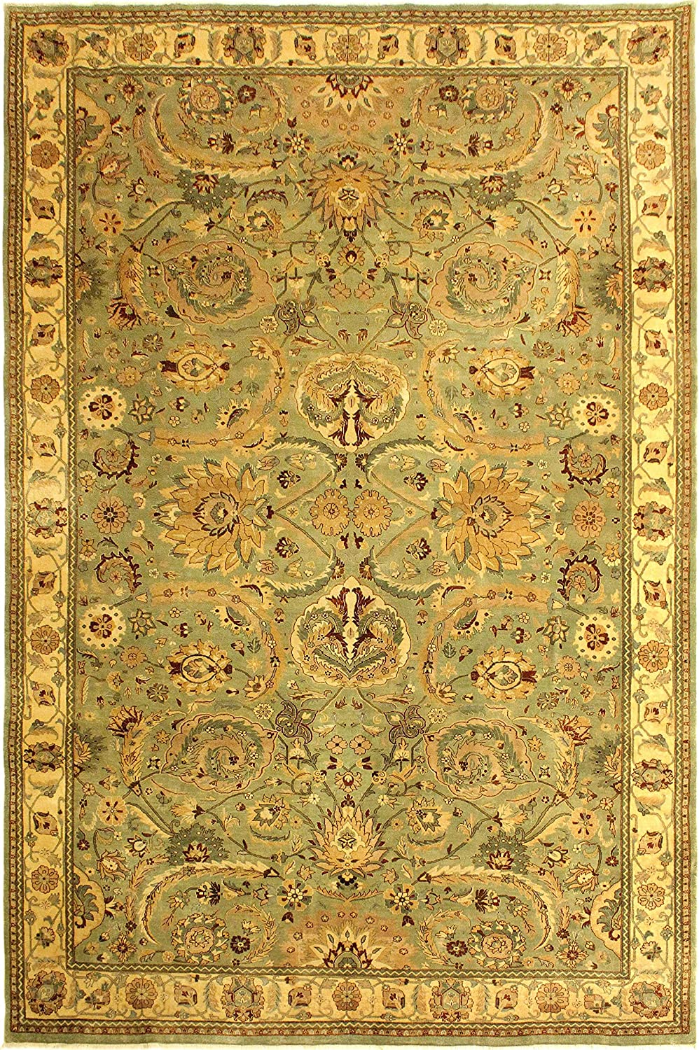 Arshs Turkish Knotted Jaime Lt. Green Ivory Louisville-Jefferson County Mall Rug Phoenix Mall 10'0 13' x Wool
