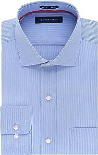 2a4d97a11 Tommy Hilfiger Men's Non Iron Regular Fit Stripe Spread Collar Dress Shirt