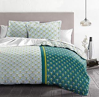 Home Linge Passion   Duvet Cover - 3 Pieces   100% Cotton - 57 Thread Count   2 People - 220x240 cm   RAINBOW BLEU-GREEN C...