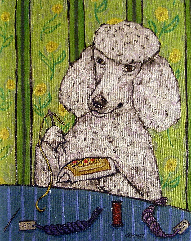 Poodle doing needlepoint Dog signed Store Overseas parallel import regular item Print art